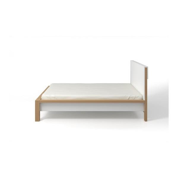 Pat dublu din lemn de pin, cu spațiu de depozitare, SKANDICA InBig, 180 x 200 cm
