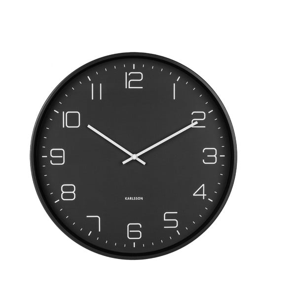 Czarny zegar ścienny Karlsson Lofty, ø 40 cm