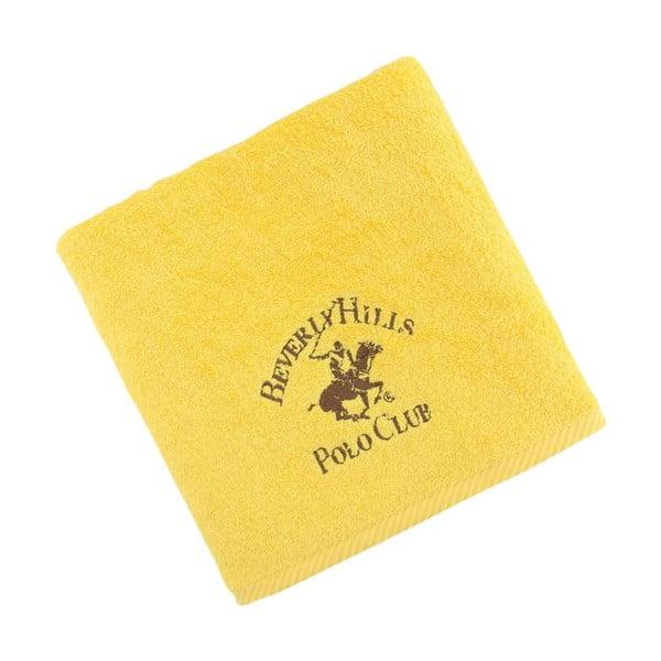 Žlutý bavlněný ručník BHPC, 50x100 cm