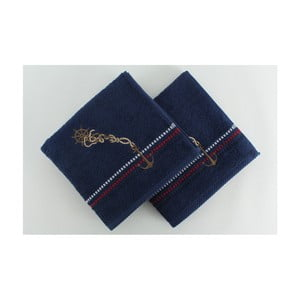 Sada 2 tmavě modrých bavlněných ručníků Marina, 50x90cm