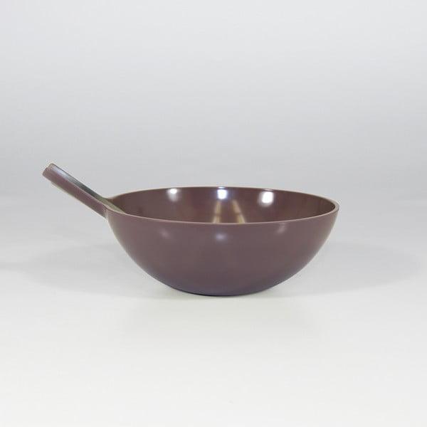 Salátová mísa s vidličkou, tmavě šedá