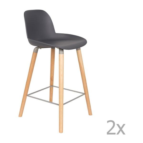 Set 2 scaune bar Zuiver Albert Kuip, înălțime scaun 65cm, gri închis