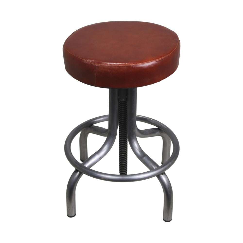 Hnědá stolička z kovu s koženým potahem HSM collection Revolving