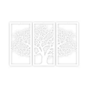 Tablou din 3 piese Solid Tree, alb de la Unknown