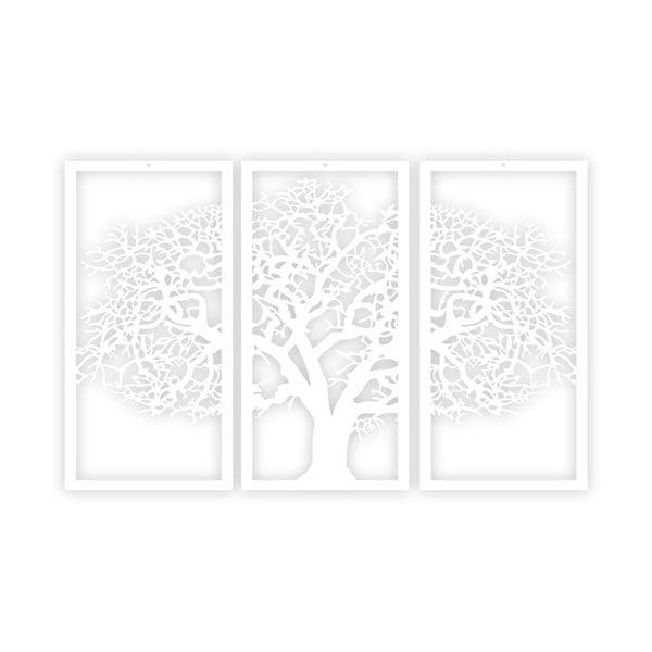 Bílý 3dílný nástěnný obraz Solid Tree