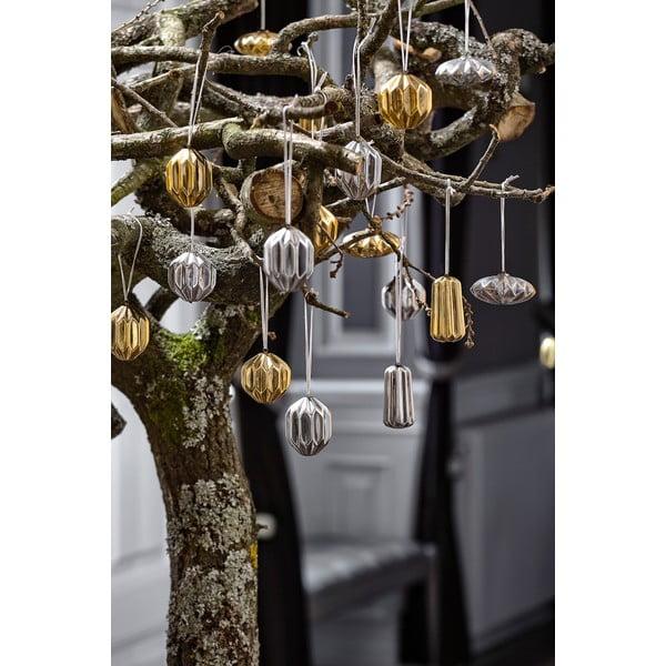 Sada 4 vánočních dekorací KJ Collection Ceramic Silver