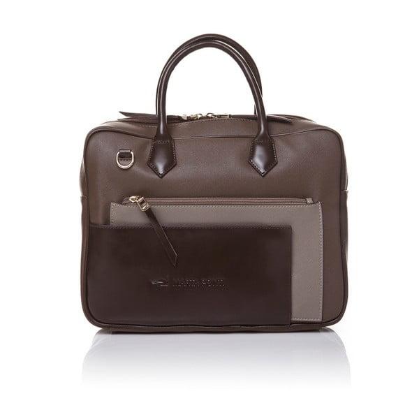 Kožená kabelka do ruky Marta Ponti Case, světle hnědá/tmavě hnědá