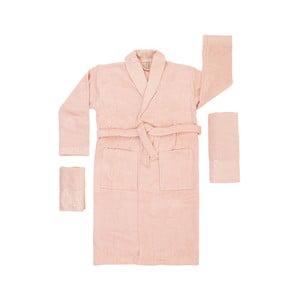 Set 2 meruňkově oranžových ručníků a unisex županu z čisté bavlny Relax, vel. M/L