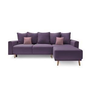 Canapea cu șezlong pe partea dreaptă Bobochic Candy, mov