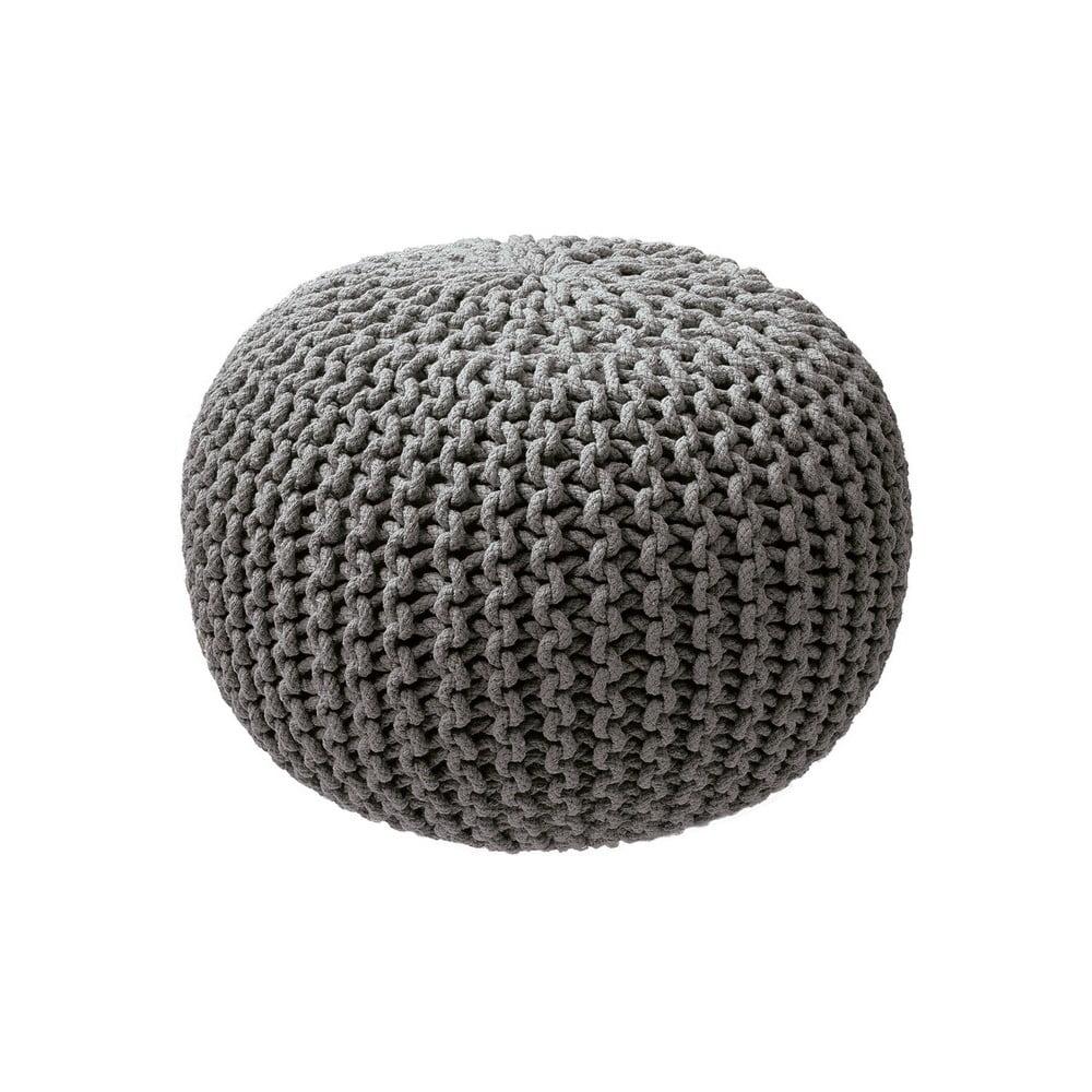 Šedý pletený puf ZicZac