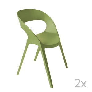 Sada 2 zelených zahradních židlí Resol Carla