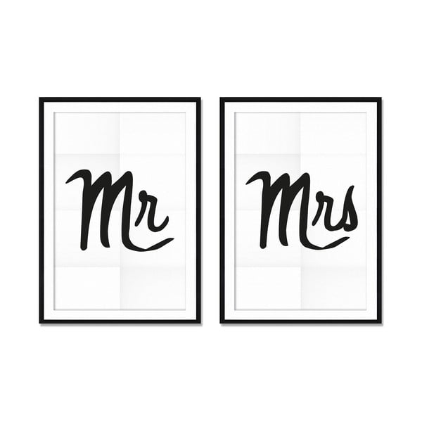 Set 2 tablouri Really Nice Things Mr&Mrs, 40 x 60 cm