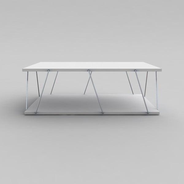 Biały stolik z chromowanymi elementami Rafevi Tars