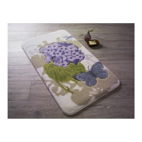Vzorovaná fialová předložka do koupelny Confetti Bathmats Pia, 80 x 140 cm