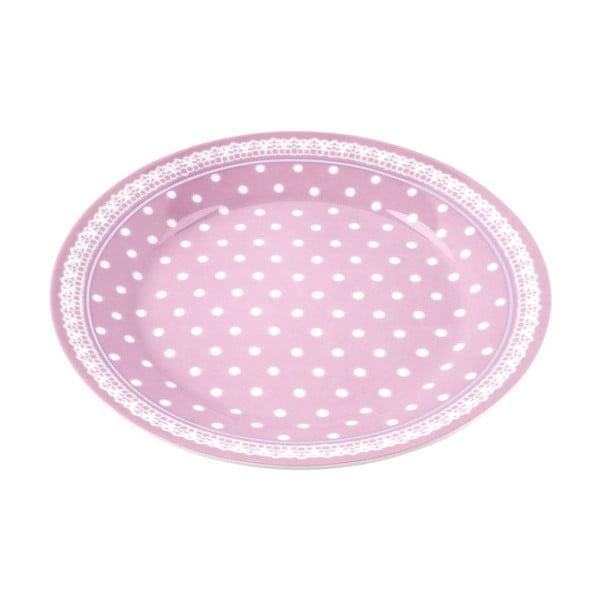 Porcelánový talíř Dots, růžový 4 ks