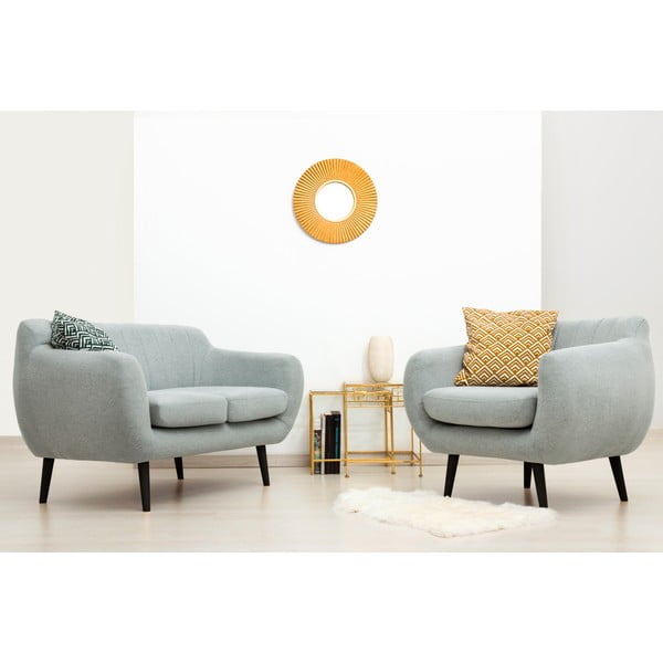 Canapea 2 locuri cu picioare negre Vivonia Kennet, gri - albastru