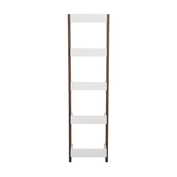 Bílo-hnědý opěrný žebřík s policemi Monobeli Amy, výška166cm