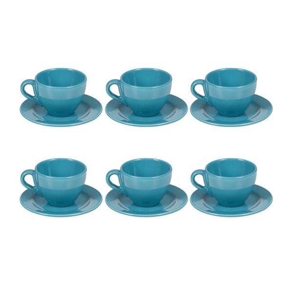 Set 6 cești din ceramică cu farfurioară Santiago Pons Saucers, albastru