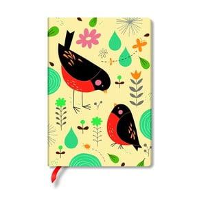 Carnețel cu copertă tare Paperblanks Robin, 9,5 x 18 cm