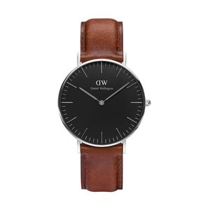 Unisex hodinky s hnědým páskem Daniel Wellington St Mawes Silver, ⌀36mm