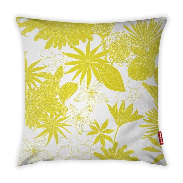 Žlto-biela obliečka na vankúš Vitaus Jungle Verde, 43×43 cm