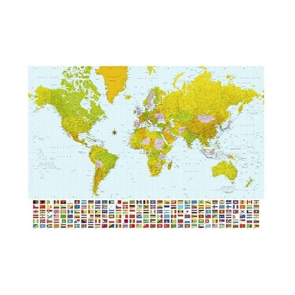 Osmidílná fototapeta World Map, 366 x 254 cm