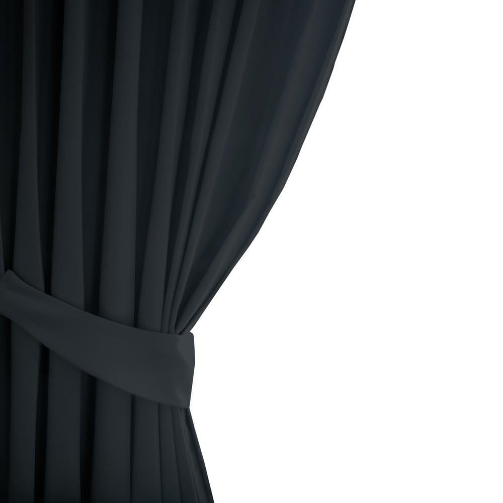 Tmavě šedý závěs AmeliaHome Eyelets Graphite, 140 x 245 cm