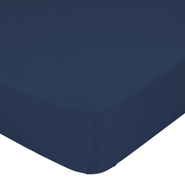 Granatowe elastyczne prześcieradło Happy Friday Basic, 160x200 cm
