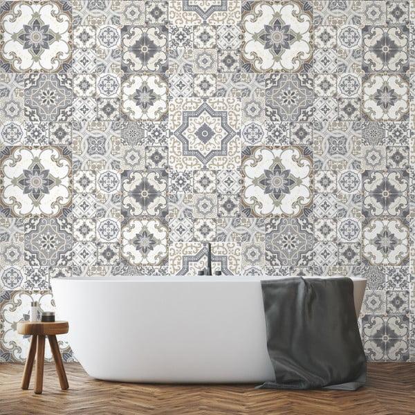 Zestaw 60 naklejek ściennych Ambiance Wall Stickers Tiles Azulejos Taiga, 15x15 cm