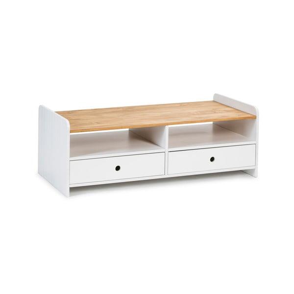 Biały stolik z blatem z drewna sosnowego Marckeric Monte