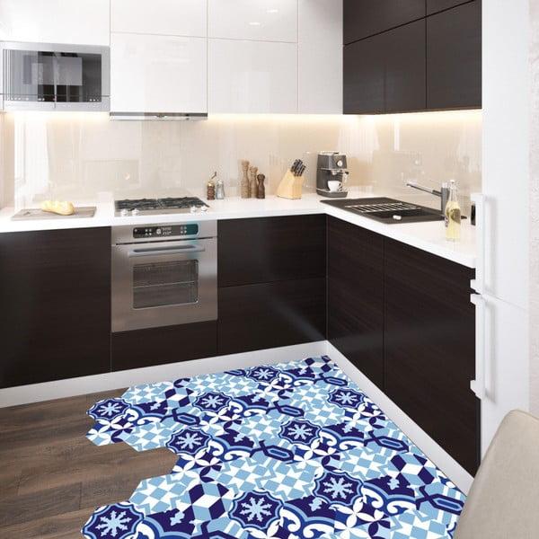 Sada 10 samolepiek na podlahu Ambiance Floor Stickers Hexagons Emiliana Azul, 40×90 cm