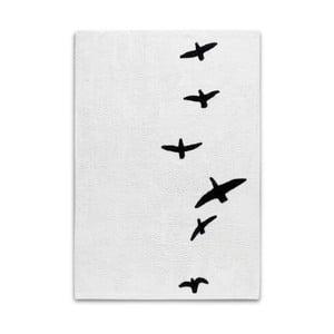 Černobílý ručně tkaný koberec s motivem ptáků HF Living, 140 x 200 cm