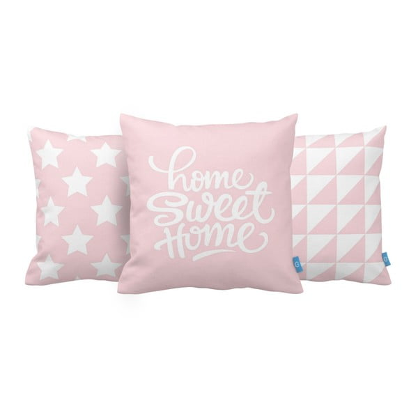 Set 3 perne Home Sweet Home, 43x43 cm, roz