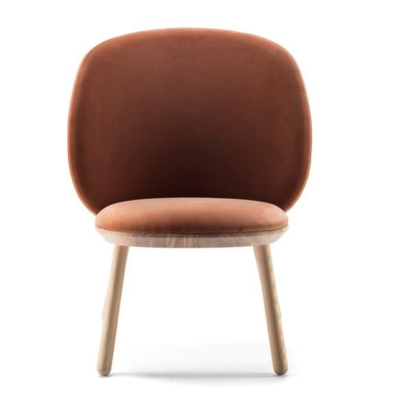 Naïve narancs-terrakotta fotel kőrisfa konstrukcióval és bőr részletekkel - EMKO