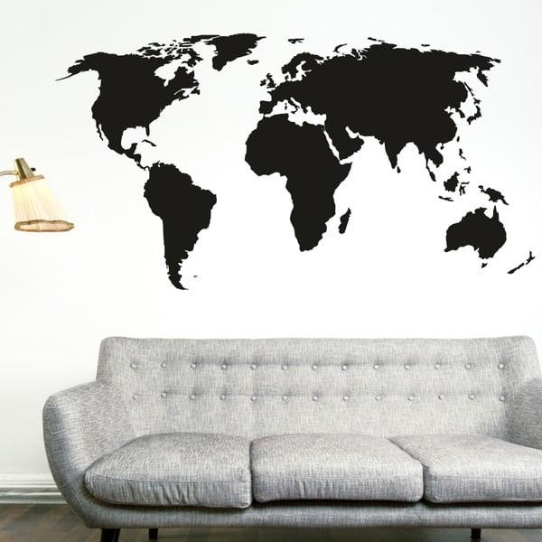 Samolepka na stěnu Malá mapa světa, černá