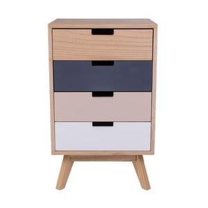 Barevná dřevěná komoda se 4 zásuvkami House Nordic Milano