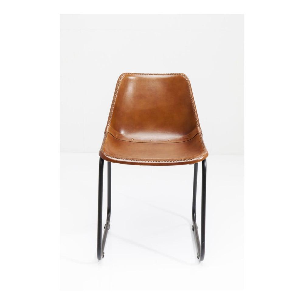 Hnědá jídelní židle s potahem z kozí kůže Kare Design Vintage