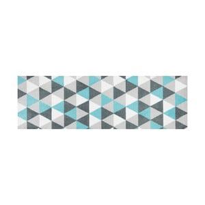Modře vzorovaný běhoun White Label Geo, 150 x 50 cm