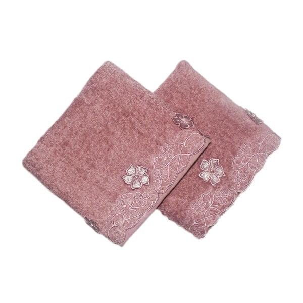 Sada 2 růžových ručníků Daisy, 50x90cm