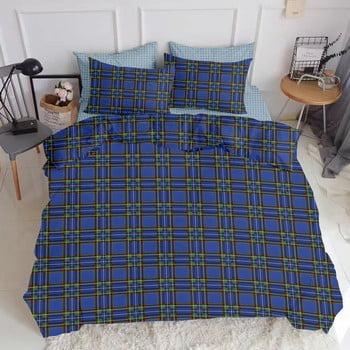 Lenjerie din bumbac cu cearceaf pentru pat dublu COSAS Messorho, 200 x 220 cm, albastru