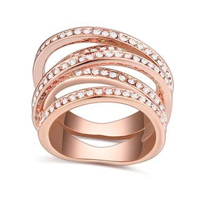Prsten s krystaly Swarovski a růžovým zlatem Natalia, velikost 52