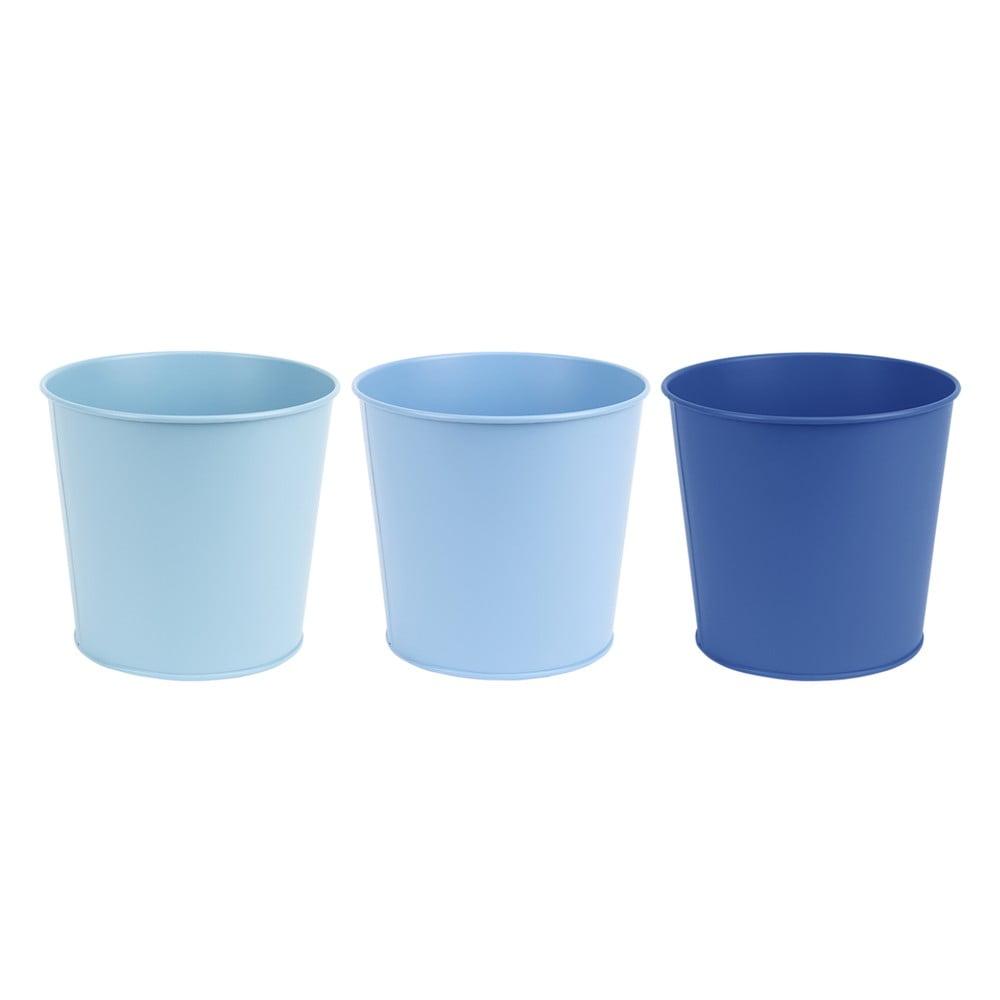 Tři kovové květináče v různých odstínech modré, v. 15,4 cm Esschert Design