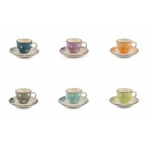 Sada 6 barevných šálků na espresso s podšálkem z kameniny Villa d'Este Tazzine