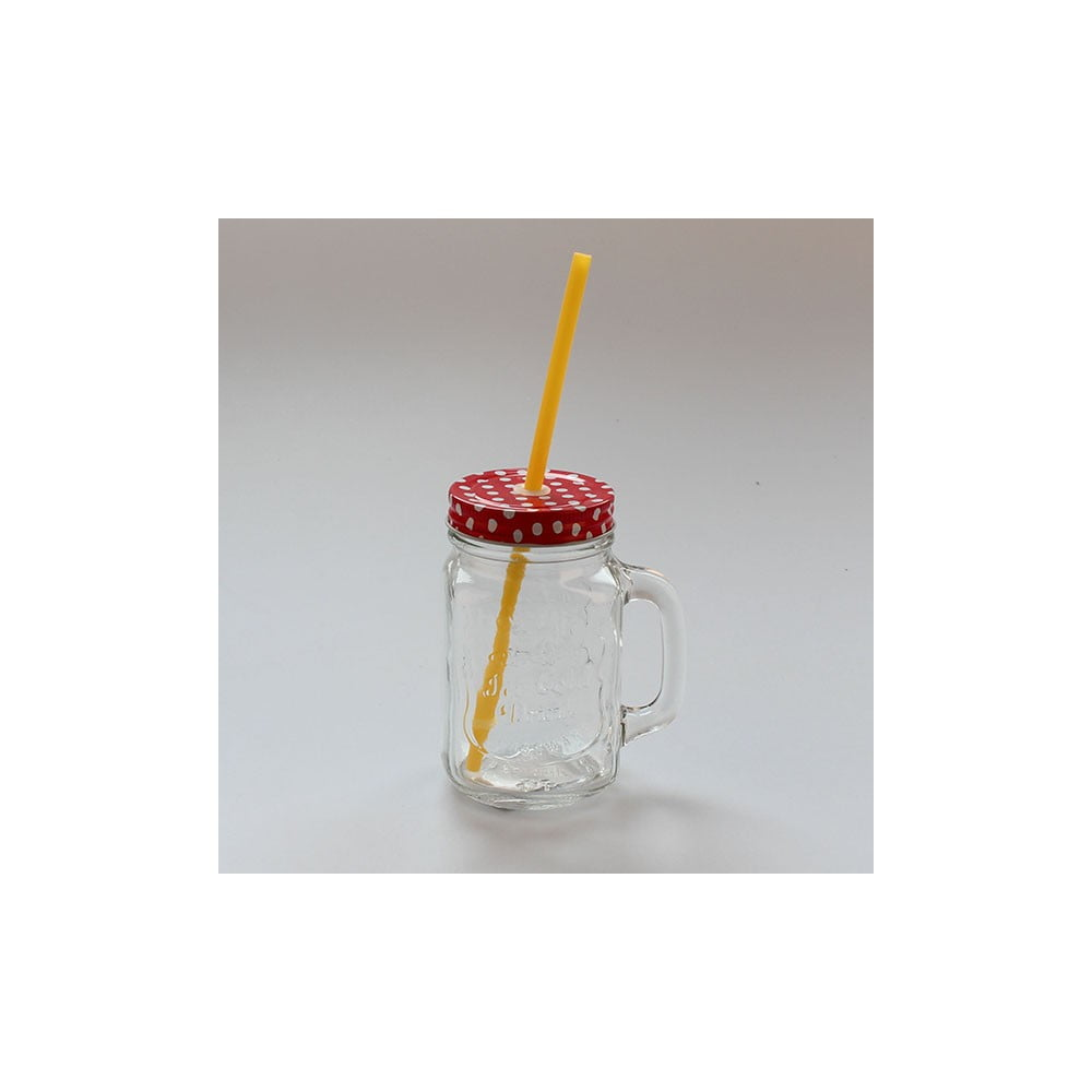 Sklenice s červeným víčkem a žlutým brčkem Dakls, 450 ml