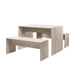 Set masă și 2 bănci cu aspect de lemn de stejar Intertade Berlin