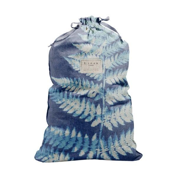 Bag Blue Leaf szövet és lenkeverék szennyestartó zsák, magasság 75 cm - Linen Couture