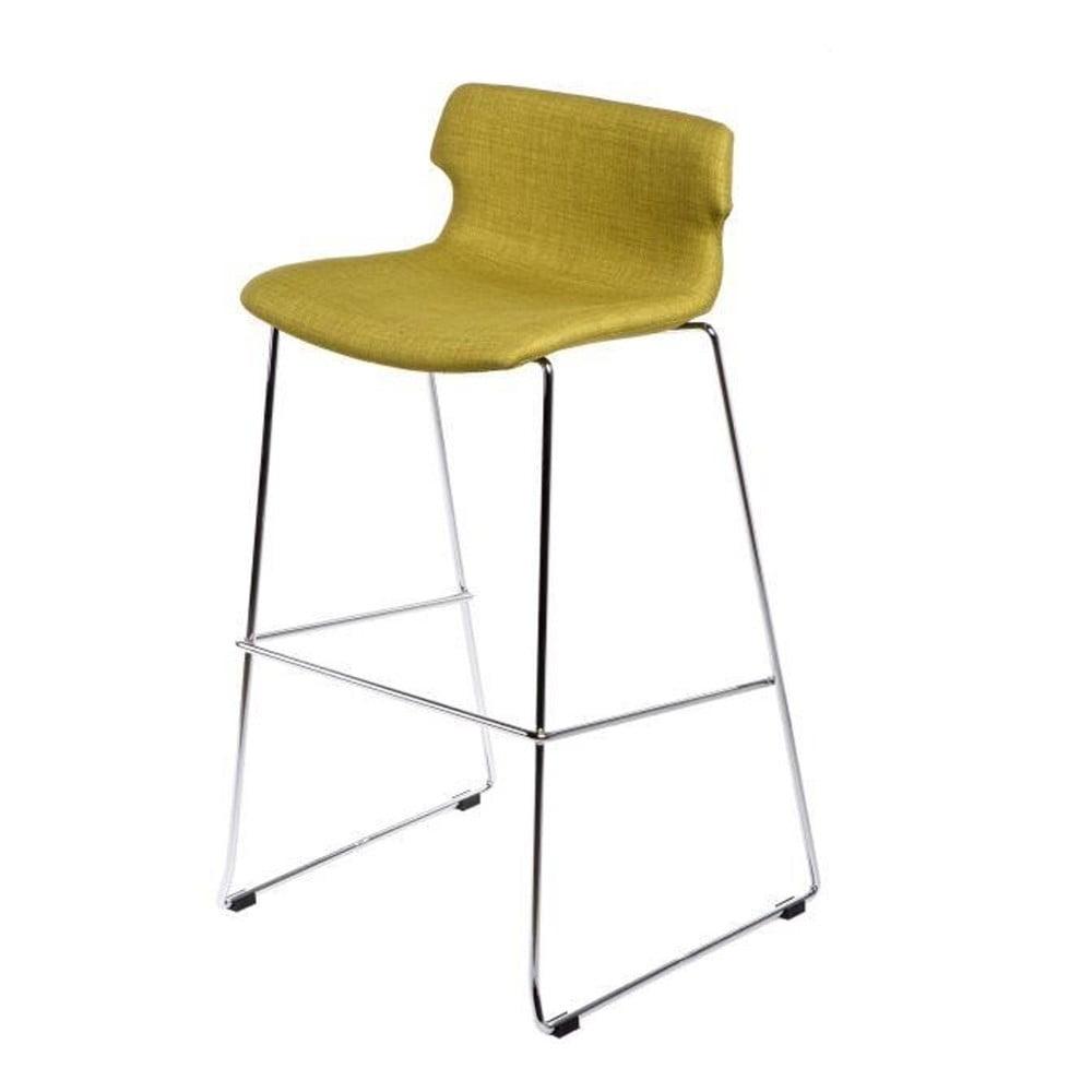 Olivová čalouněná barová židle D2 Techno