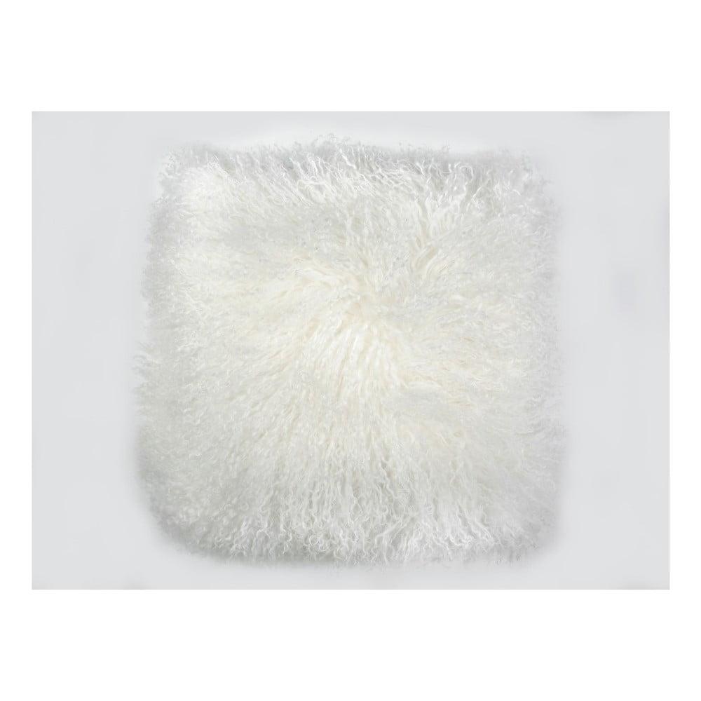 Bílý vlněný polštář z ovčí kožešiny Auskin Cador, 35 x 35 cm