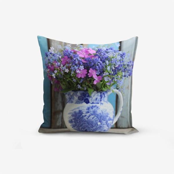 Povlak na polštář s příměsí bavlny Minimalist Cushion Covers Double Colorful Vazo Cicegi, 45 x 45 cm
