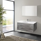 Koupelnová skříňka s umyvadlem a zrcadlem Flopy, vintage dekor, 100 cm